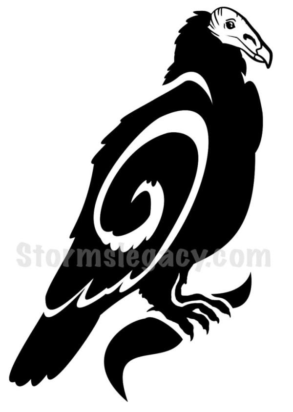 Turkey Vulture Blackwork Animal Design
