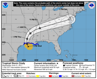 7pm June 21st advisory and forecast cone.
