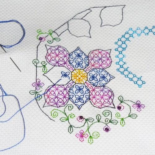 stitching in progress
