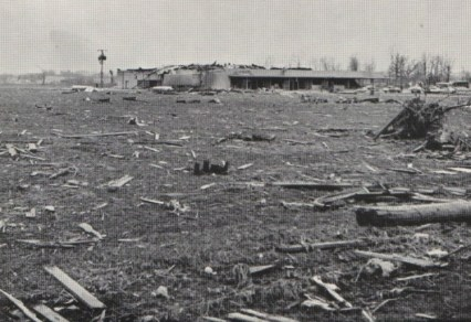 A field strewn with rubble east of Marion.