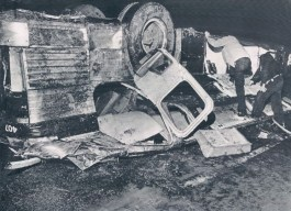 The bus which was thrown from the Toledo Expressway, killing five occupants.