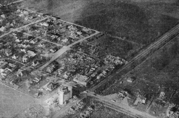Aerial view of the destruction in Wyatt.
