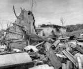 Piles of wreckage east of the OG&E plant.
