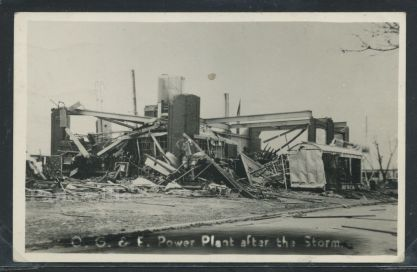 The wreckage of the Oklahoma Gas & Electric plant, where Erwin Walker sacrificed his life to cut power to the lines.