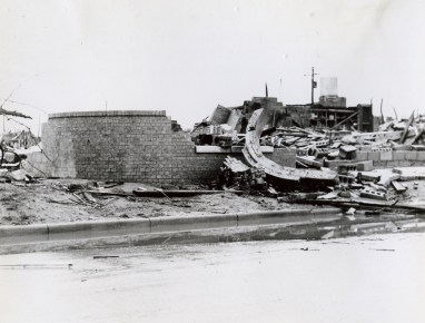 A destroyed brick business near downtown Woodward.