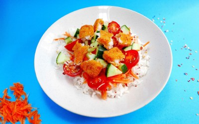 Fishfinger rice bowl