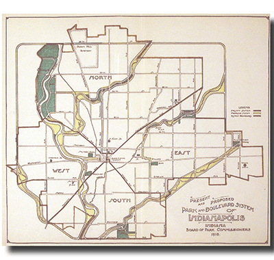 Indianapolis Proposed Park and Boulevard System Map, 1910, George Kessler