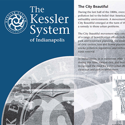 An informative brochure about the Indianapolis Historic Park and Boulevard System, designed in collaboration with RLR Associates.