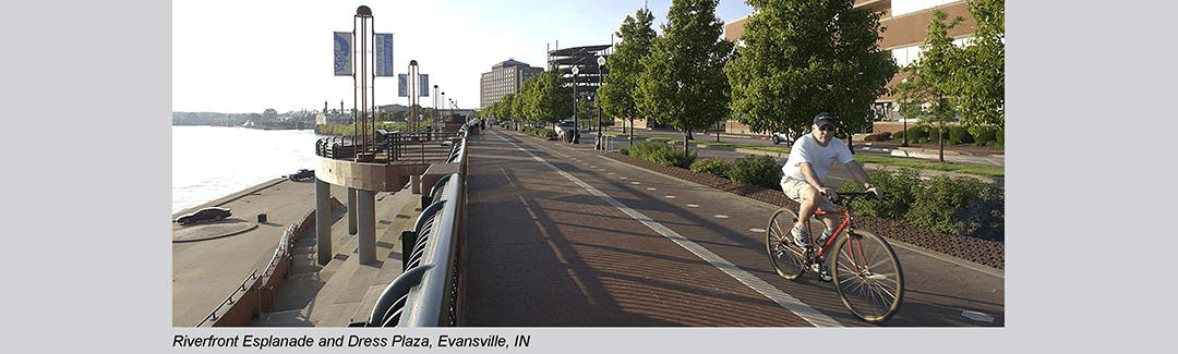 Evansville Riverfront Esplanade and Dress Plaza urban bicycle and pedestrian promenade