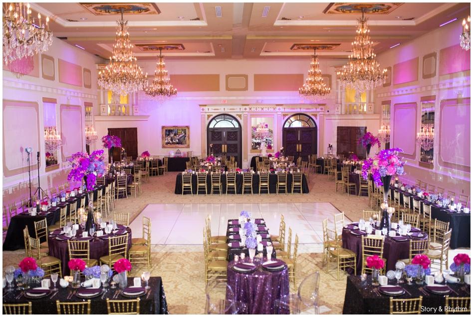 Purple and hot pink wedding decor