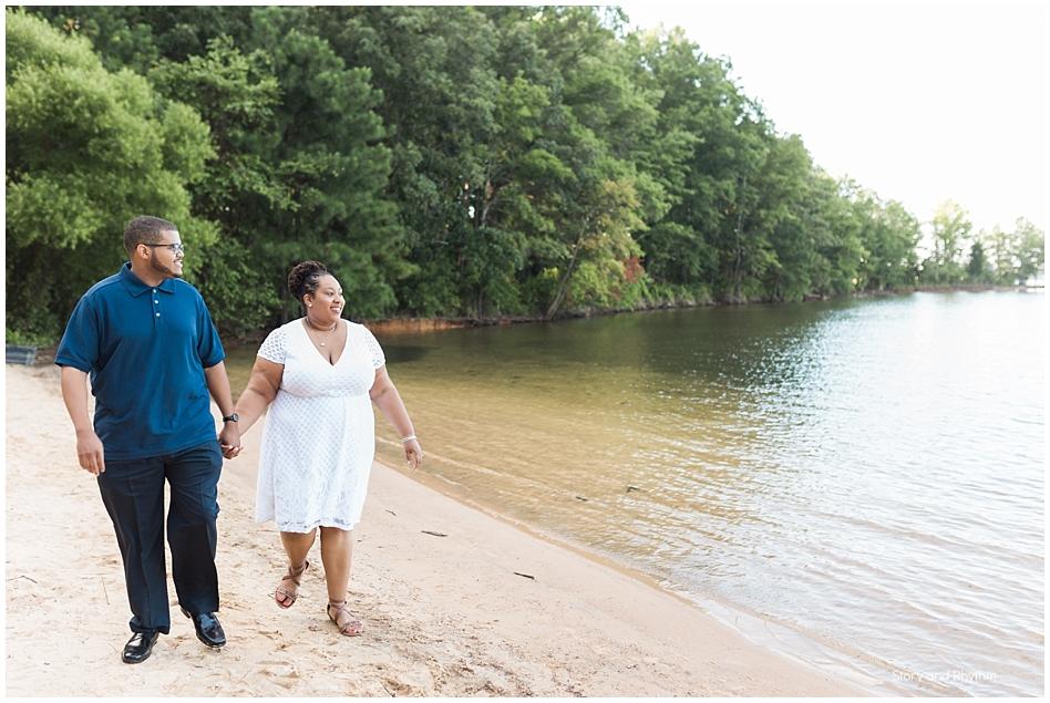 Couple walking on the lake