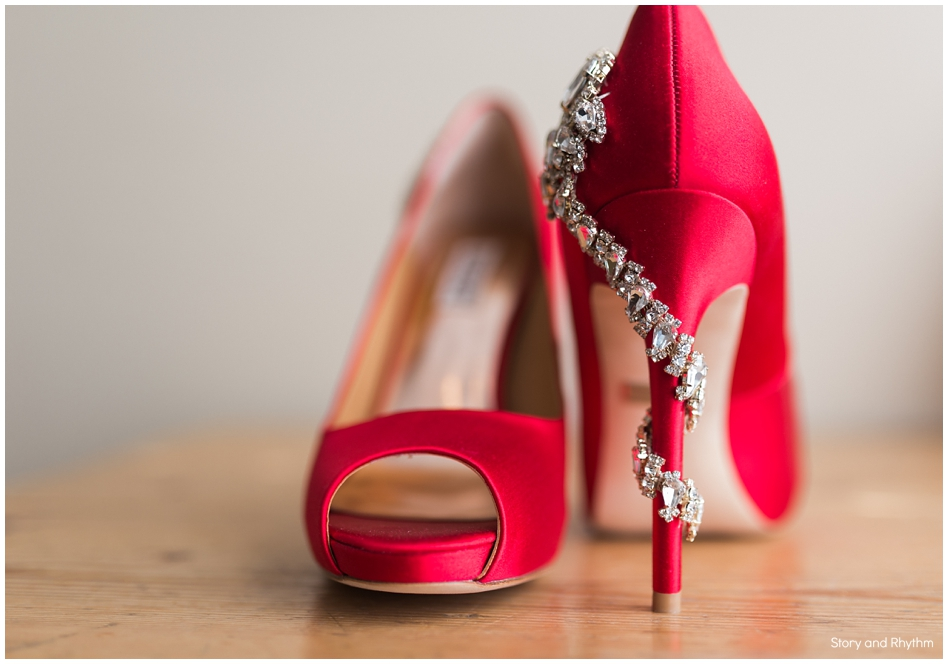 Red Badly Mischka wedding shoes