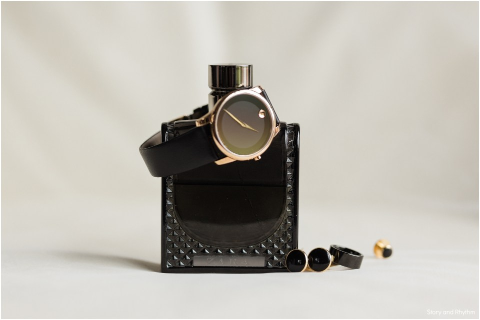 Black cologne and details for the groom