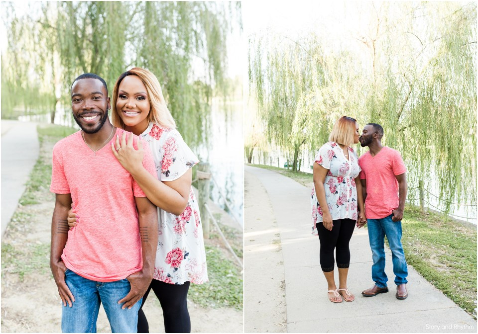 Charlotte engagement photos at the Boardwalk at University