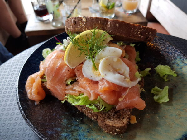 Province of Drenthe: Reward after 52 km cycle tour - smoked salmon sandwich
