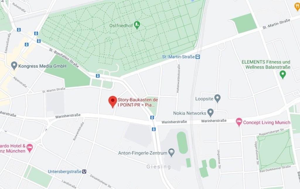 Anfahrt POINT-PR, Brecherspitzstraße 8 Story-Baukasten