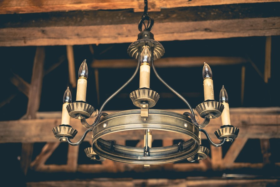 Photograph of a Faux Candle Chandelier at Storybook Barn, Rogersville, MO.