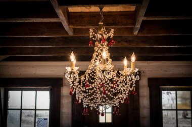 Photograph of the chandelier in the Bride's Room at Storybook Barn MO