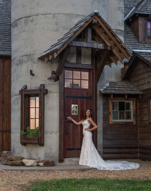 Bride at the entrance to the Silo, Storybook Barn. Storybook Barn, a place where your wedding stories can come true. Pictures from a recent bridal photoshoot. Image credit: M. Shipley, 417 Photo Works