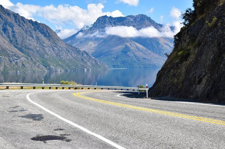 Driving past Lake Te Anau