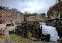 Cotton mill and waterwheel