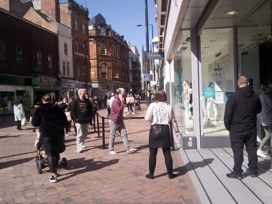 Images of the queue outside Primark in Derby