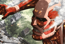Eren faces off against the Colossal Titan