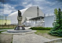Memorial statue outside the Chernobyl dome