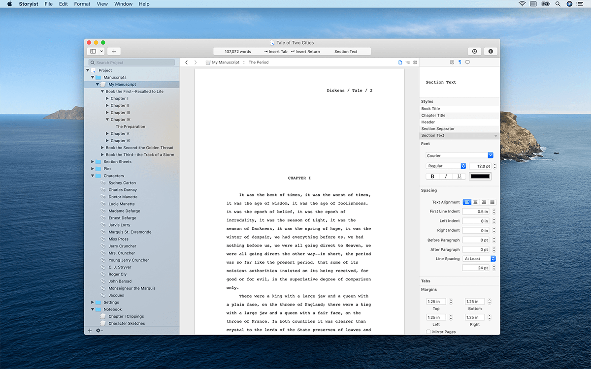 Storyist 4.1.1 and Catalina