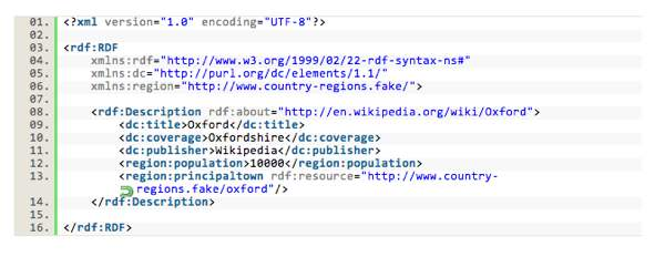 Example of linked data code in RDF.  screenshot source: LinkedDataTools.com