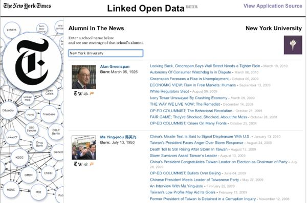 New York Times Linked Data app for alumni in the news.  It relied in part on linked data from Freebase, a Google product that Google is retiring.