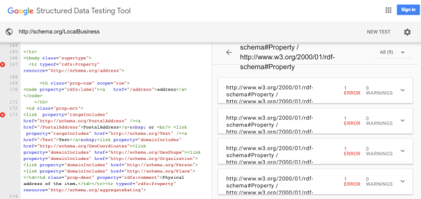 "Google's structured data testing tool ""complaining"" about a webpage on the schema.org website"