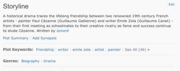 'Storyline' metadata from IMDb description of film Cezzane and I. (screenshot via IMDb)