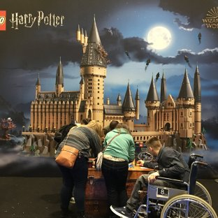 Fans checking out Harry Potter figurines.