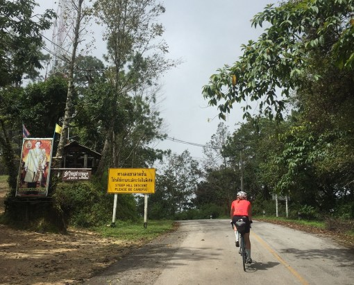 The descent of the Doi Angkhang! As it had a couple of KM's with gradients of over 13% and even several hundreds of meters of >15% it was quite an awesome descent!