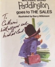 Michael Bond autograph - Paddington goes to THE SALES - Story Snug