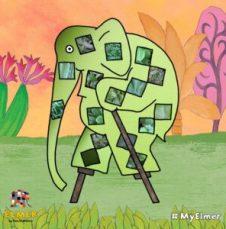 Elmer's Patchwork Photo App Elmer on Stilts http://storysnug.com #MyElmer