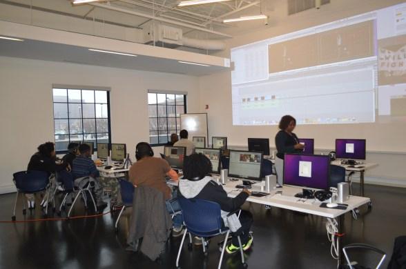 Teen Council editing in the NineLAB