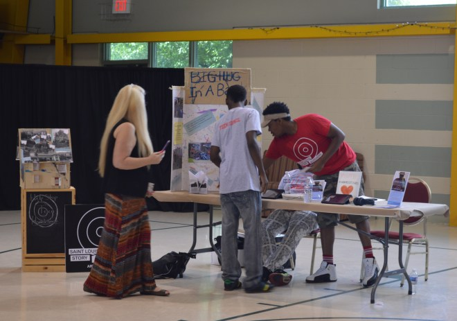Stitchers Teen Council members at the final public presentation of BIG HUG in a Bag, a St. Louis Mental Health Board $1,000 Youth Mini-Grant, July 25, 2015.