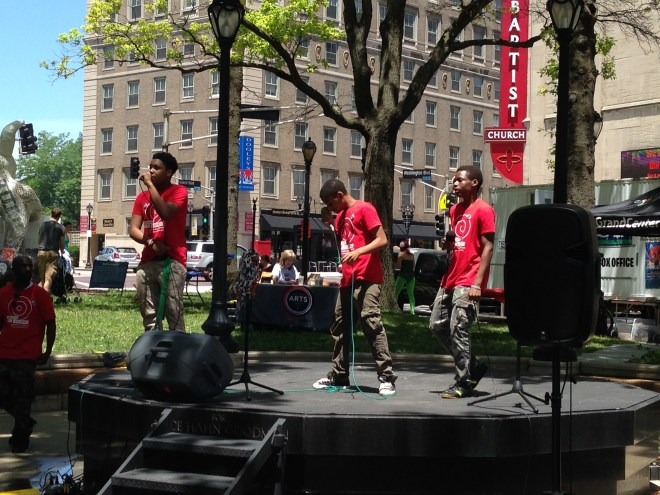 Stitchers Teen Council members, the Triple T'z, perform at Fringe Fest, June 20, 2015.