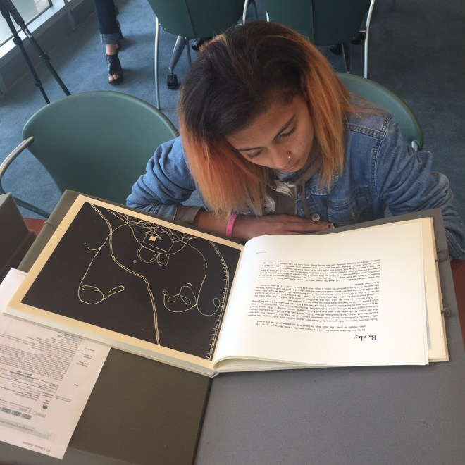 Curating Teen Voices: Coming of Age Workshop #1, Artists' Books in the Olin Library Special Collections with Buzz Spector. Photograph by Buzz  Spector. August 8, 2015