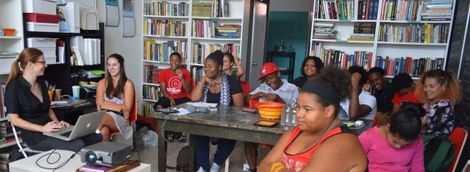 Heather Bennett presents Workshop #2 in the Curating Teen Voices: Coming of Age Series. August 15, 2015. Photo by Susan Colangelo.