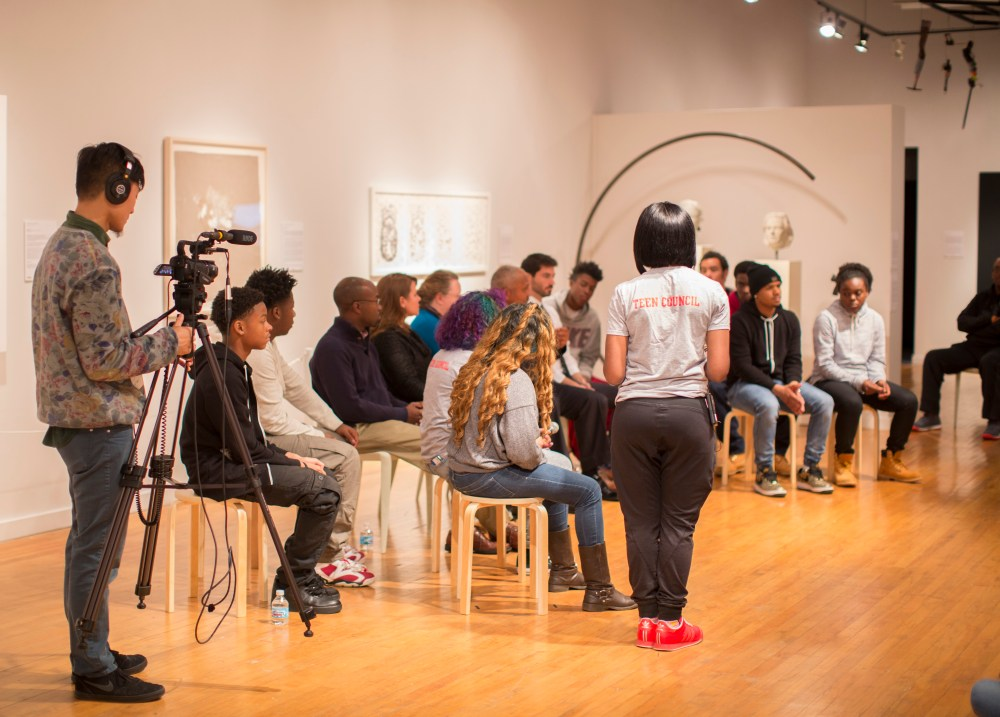 """11.15.2015--""""Not another one!"""", a videotaped conversation about gun violence with St. Louis teens and community leaders, was held at the Des Lee Gallery in St. Louis. The event was organized by the Institute for Public Health and St. Louis Story Stitchers. Photo by Whitney Curtis/WUSTL Photos"""
