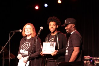 Susan Colangelo and KP Dennis with Taron, 2016 Teen Leadership Award winner at 2nd Annual Benefit Concert.3.19.2016.Photo by Qingru Chen. c Story Stitchers 2016