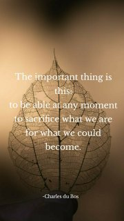 The important thing is this: to be able at any moment to sacrifice what we are for what we could become. -Charles du Bos