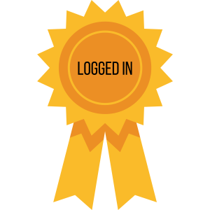 a ribbon with the words 'logged in'