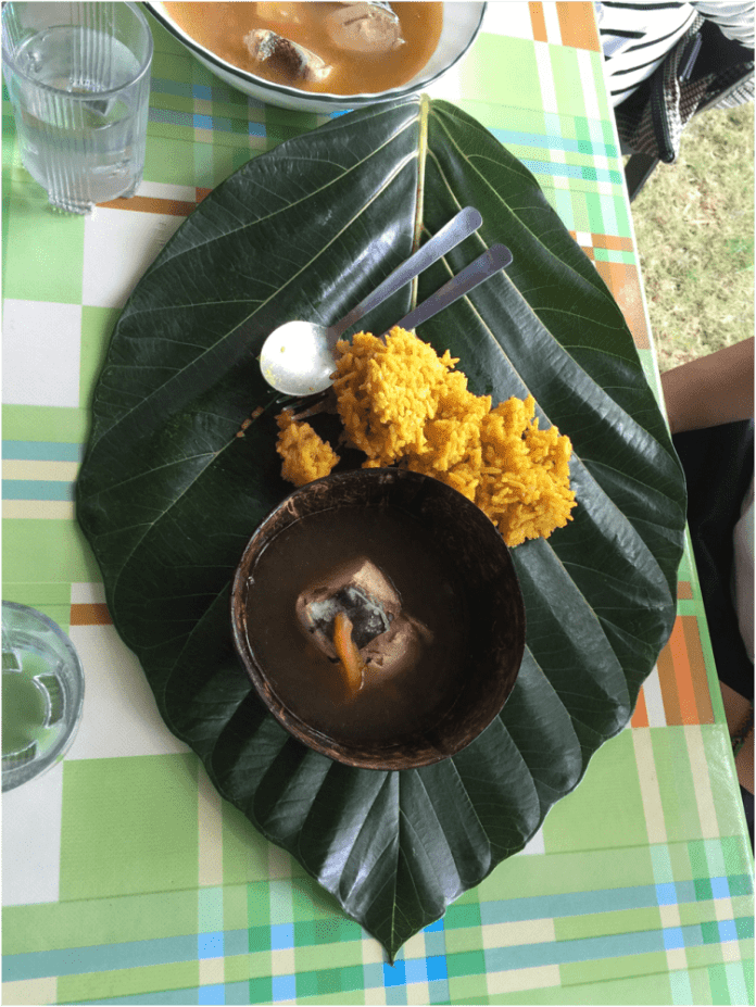 Dining in Batanes like the locals. Kabaya (breadfruit) leaf as a plate. Coconut shell as a bowl - Philippines Travel Tips: Essential Things To Know Before Going