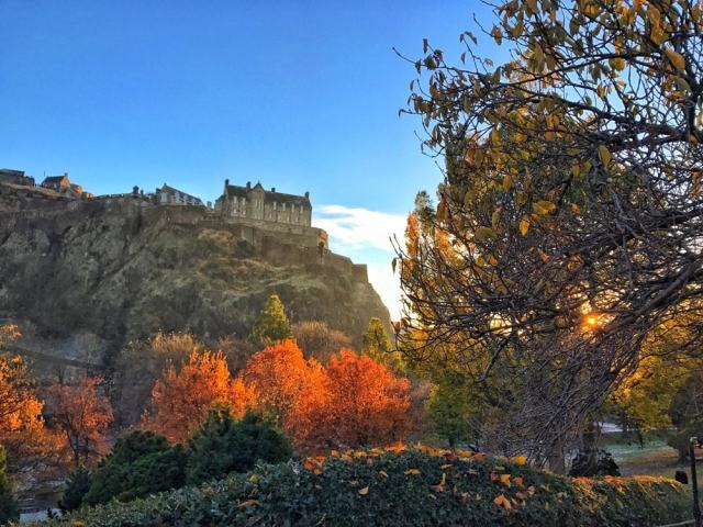 The view of the castle from the park - Edinburgh travel tips