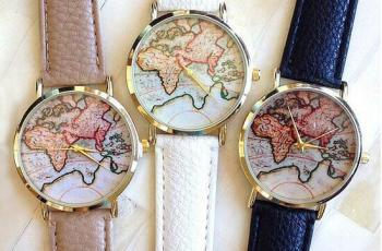Oceana world map watch green background 550 storyv travel lifestyle globetrotter world map watch available in beige black and white on shop storyv gumiabroncs Gallery