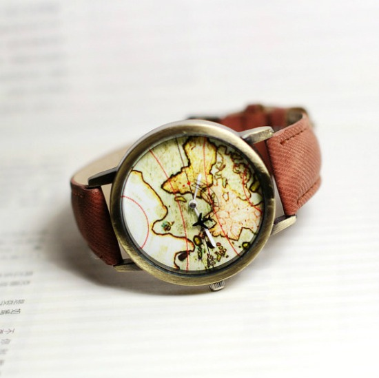 VOYAGER Vintage World Map Watches available in black, white, brown, blue, green, yellow, grey, pink and red on SHOP StoryV